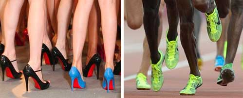 Red sole Louboutin shoes & neon yellow-green Nike Volt shoes