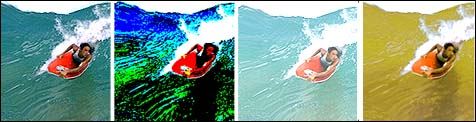 Four versions of a surfer on a wave