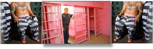 Pink jail cell and prisoners