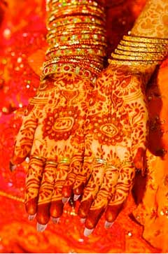 red henna and wedding dress