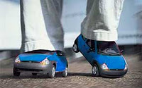 blue car shoes