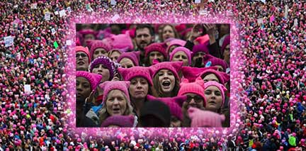 pink pussy cat hasts in a sea of pink protestors