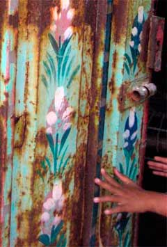 Detail of a painted door